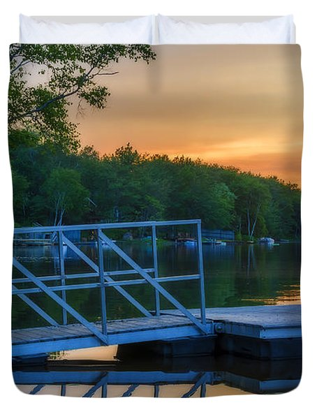Sunset At Kearney Lake Duvet Cover