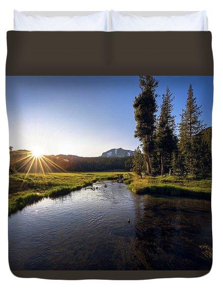 Sunset At Kings Creek In Lassen Volcanic National Duvet Cover
