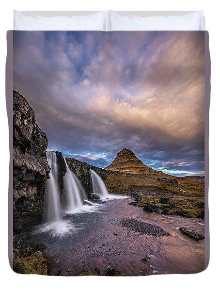 Sunset At Kirkjufellsfoss Duvet Cover