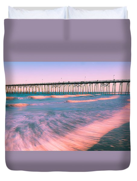 Duvet Cover featuring the photograph Sunset At Kure Beach Fishing Pier Panorama by Ranjay Mitra