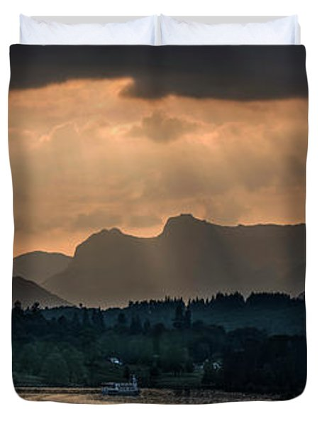 Sunset At Lake District Duvet Cover