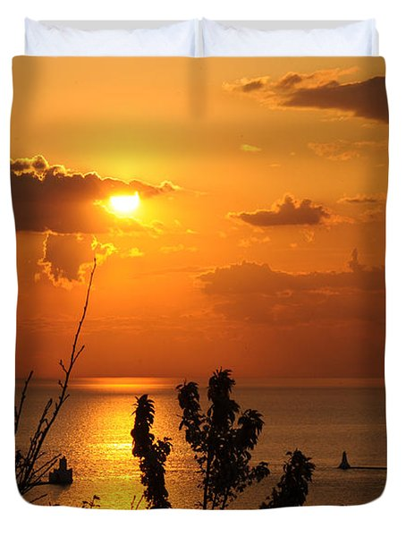 Sunset At Lake Huron Duvet Cover by Joe  Ng
