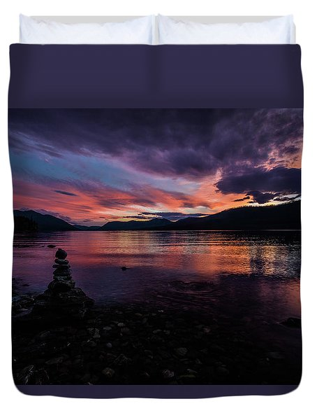 Sunset At Lake Mcdonald Duvet Cover