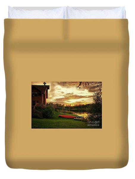 Sunset At Lakeside Lodge Duvet Cover