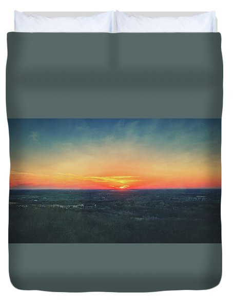Duvet Cover featuring the photograph Sunset At Lapham Peak #3 - Wisconsin by Jennifer Rondinelli Reilly - Fine Art Photography