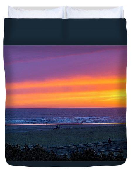 Sunset At Long Beach Washington Duvet Cover
