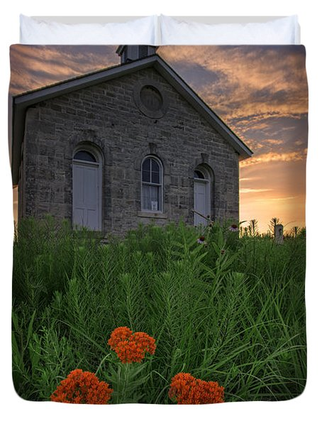 Sunset At Lower Fox Creek Schoolhouse Duvet Cover