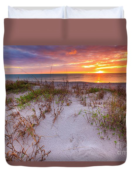 Sunset At Manisota Beach Duvet Cover