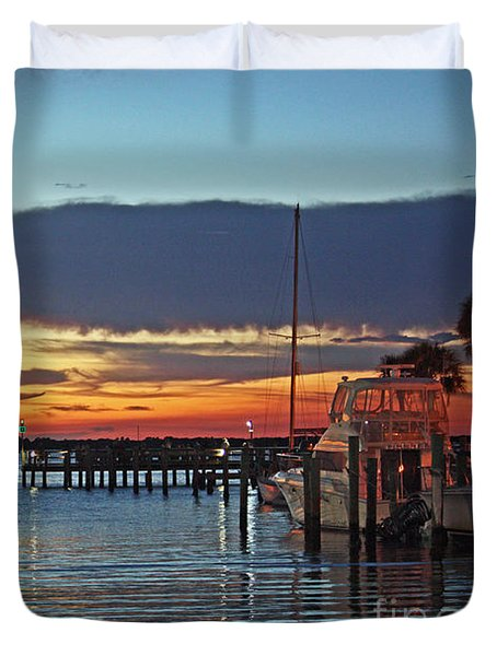 Sunset At Marina Plaza Dunedin Florida Duvet Cover