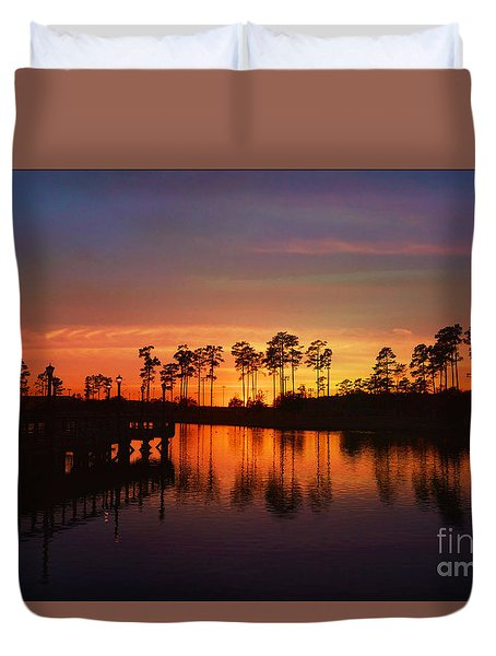Sunset At Market Commons II Duvet Cover by Kathy Baccari