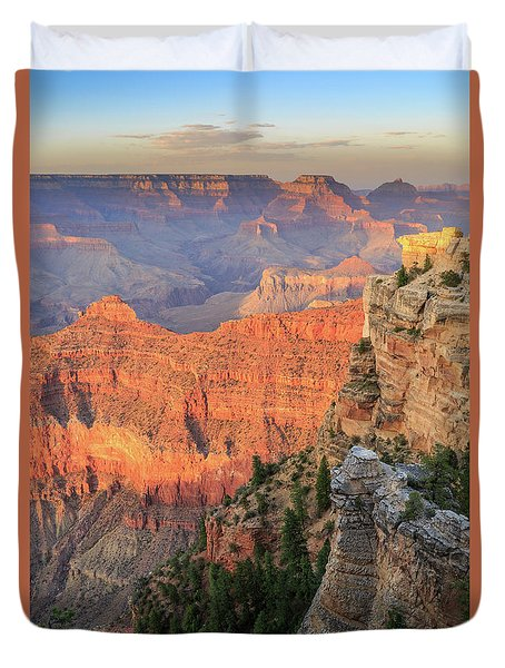 Duvet Cover featuring the photograph Sunset At Mather Point by David Chandler