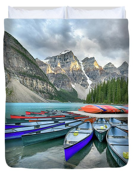 Sunset At Moraine Lake Duvet Cover