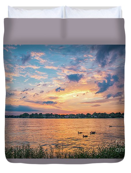 Sunset At Morse Lake Duvet Cover