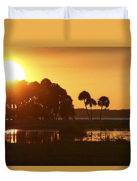 Sunset At Myakka River State Park In Florida, Usa Duvet Cover
