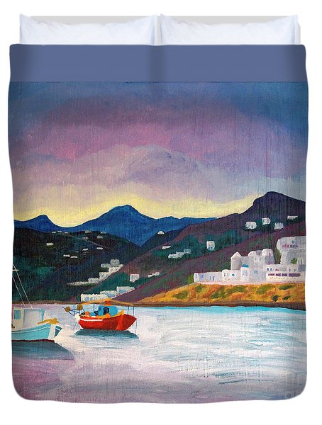 Sunset At Mykonos Duvet Cover