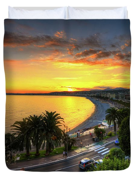Duvet Cover featuring the photograph Sunset At Nice by Yhun Suarez