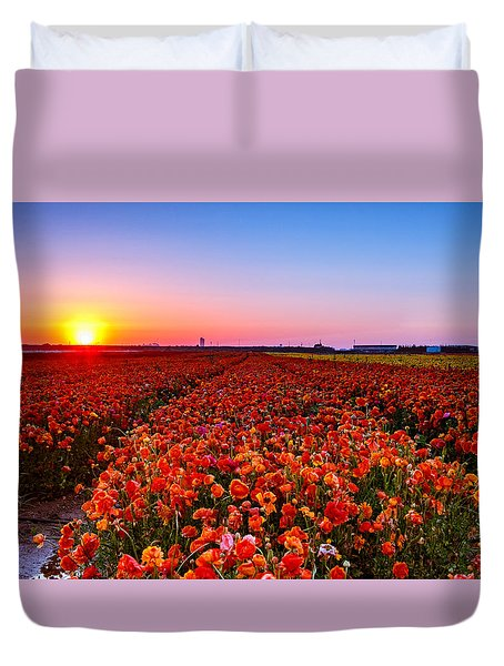 Sunset At Nuriot Field Duvet Cover
