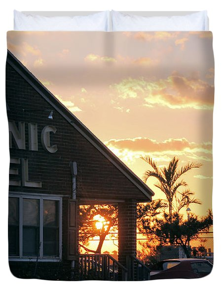 Sunset At Oceanic Motel Duvet Cover