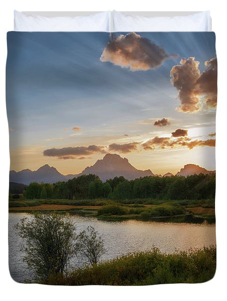 Sunset At Oxbow Bend Duvet Cover