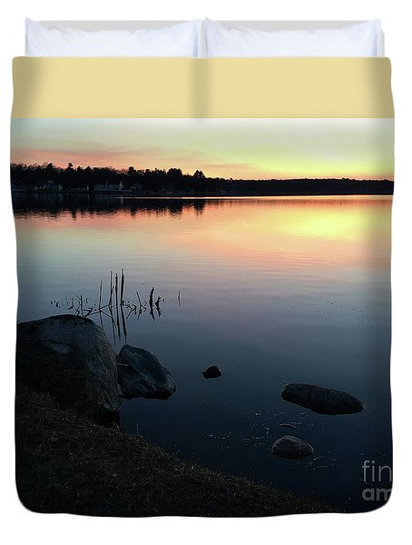 Sunset At Pentwater Lake Duvet Cover