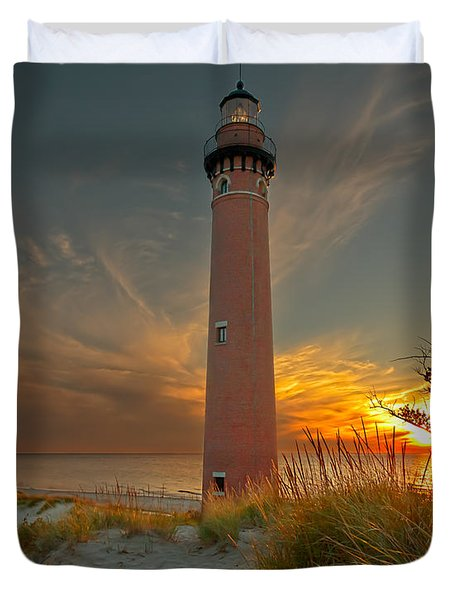 Sunset At Petite Pointe Au Sable Duvet Cover