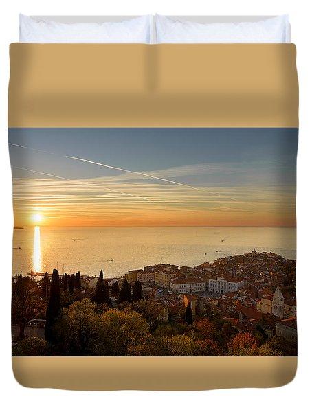 Sunset At Piran Duvet Cover