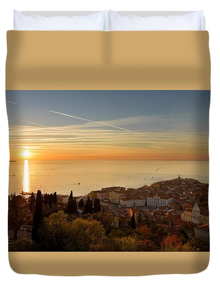 Sunset At Piran Duvet Cover