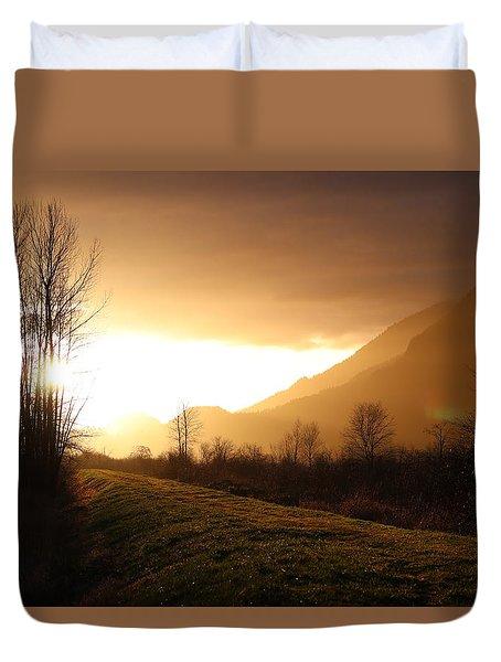 Sunset At Pitt Lake Dyke Duvet Cover
