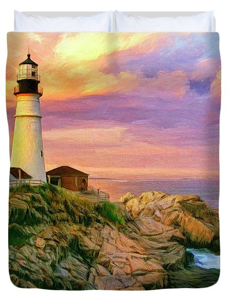 Sunset At Portland Head Duvet Cover