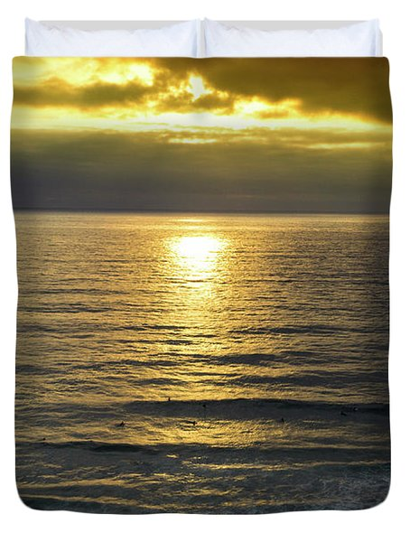 Sunset At Praia Pequena, Small Beach In Sintra Portugal Duvet Cover