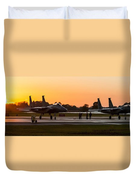 Sunset At Raf Lakenheath Duvet Cover