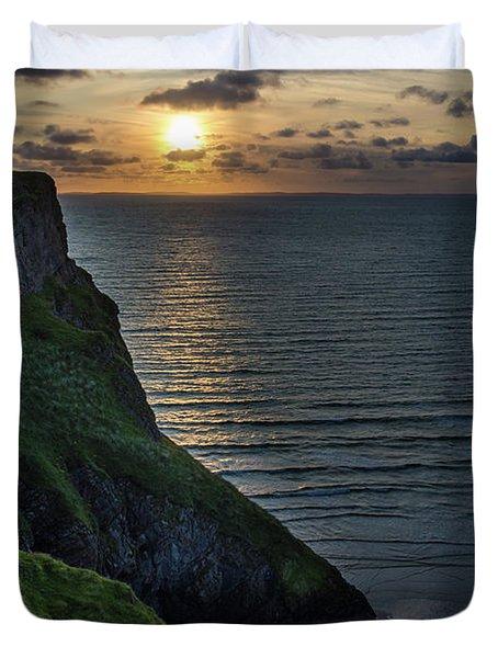 Sunset At Rhossili Bay Duvet Cover