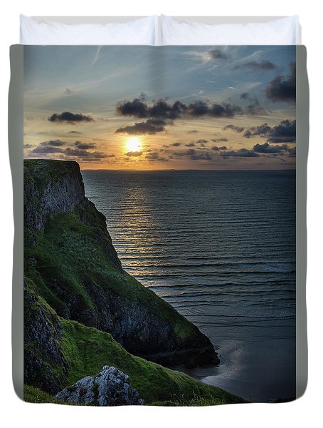 Sunset At Rhossili Bay Duvet Cover