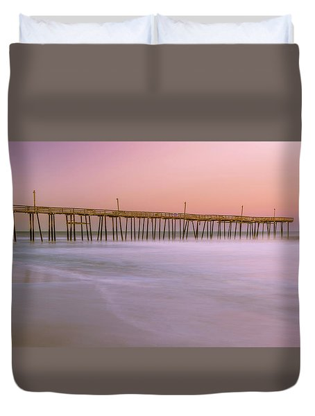 Duvet Cover featuring the photograph Sunset At Rodanthe Fishing Pier In Obx Panorama by Ranjay Mitra
