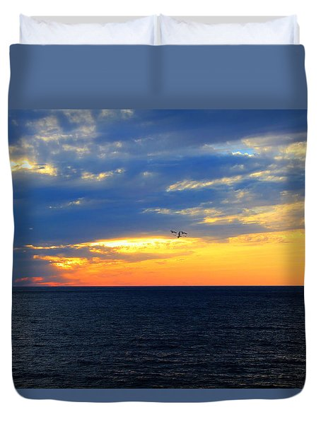 Duvet Cover featuring the photograph Sunset At Sail Away by Shelley Neff