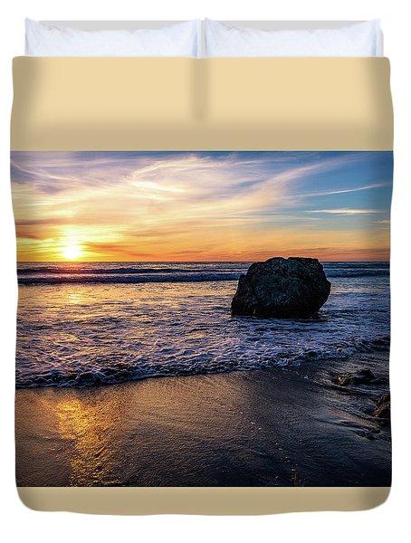 Sunset At San Simeon Beach Duvet Cover