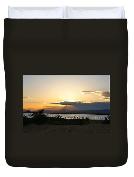 Sunset At Sand Hollow Beach Duvet Cover