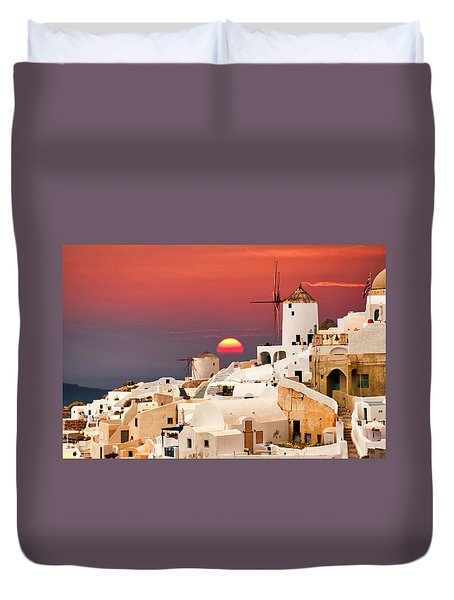 sunset at Santorini Duvet Cover