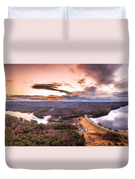 Sunset At Saville Dam - Barkhamsted Reservoir Connecticut Duvet Cover