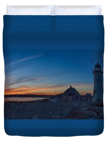 Duvet Cover featuring the photograph Sunset At Scituate Lighthouse by Jeff Folger