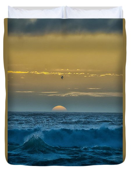 Sunset At Sea Duvet Cover by Billie-Jo Miller