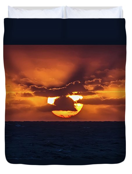 Duvet Cover featuring the photograph Sunset At Sea by John Haldane