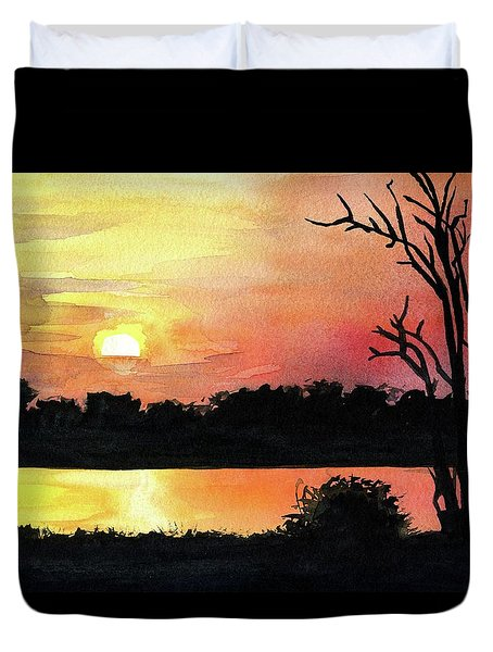 Duvet Cover featuring the painting Sunset At Shire River In Malawi by Dora Hathazi Mendes