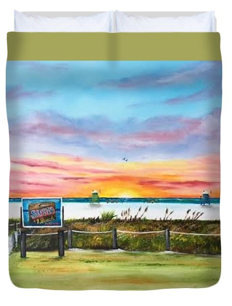 Sunset At Siesta Key Public Beach Duvet Cover