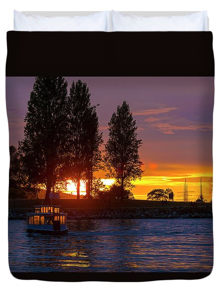 Sunset At Sunset Beach In Vancouver Bc Duvet Cover