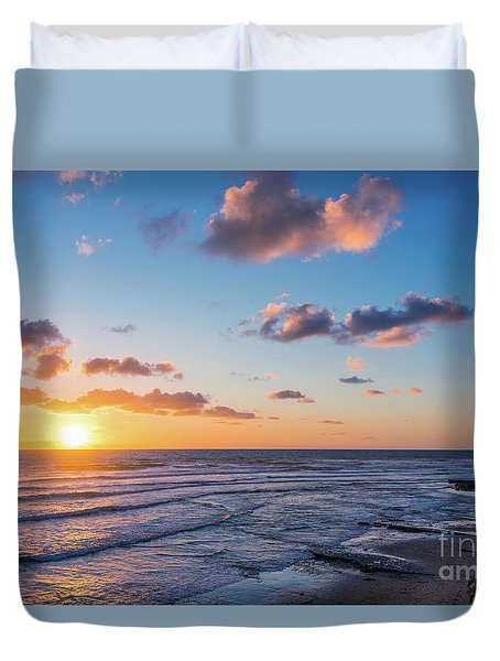 Sunset At Swami's Beach  Duvet Cover