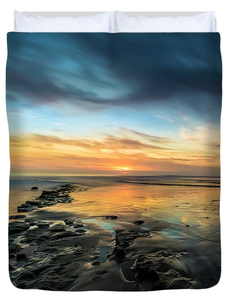Sunset At Swamis Beach Duvet Cover