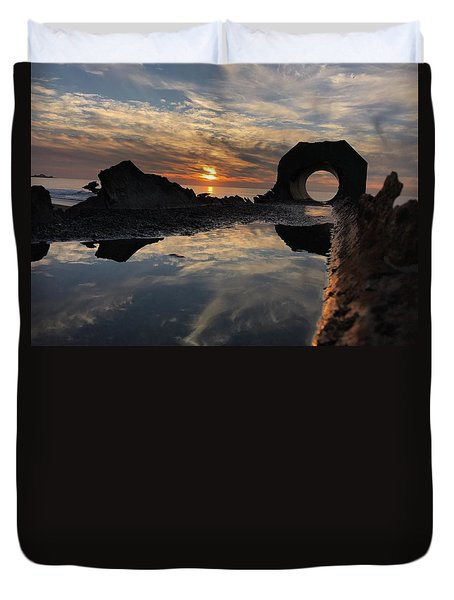 Duvet Cover featuring the photograph Sunset At The Beach by Alex King