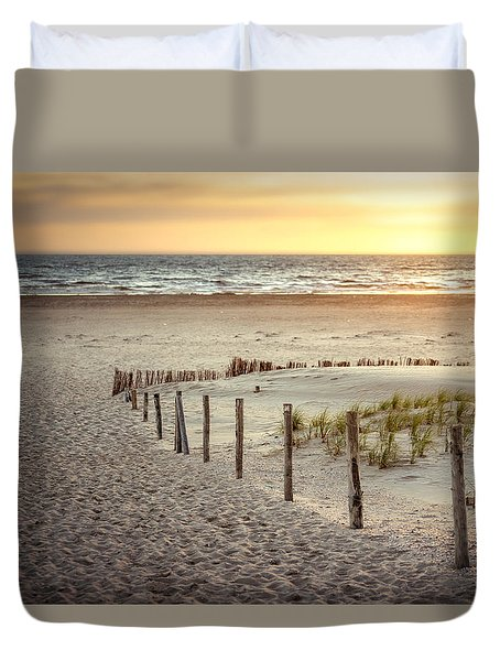 Duvet Cover featuring the photograph Sunset At The Beach by Hannes Cmarits