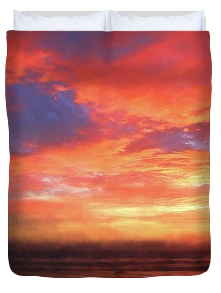 Sunset At The Beach Duvet Cover
